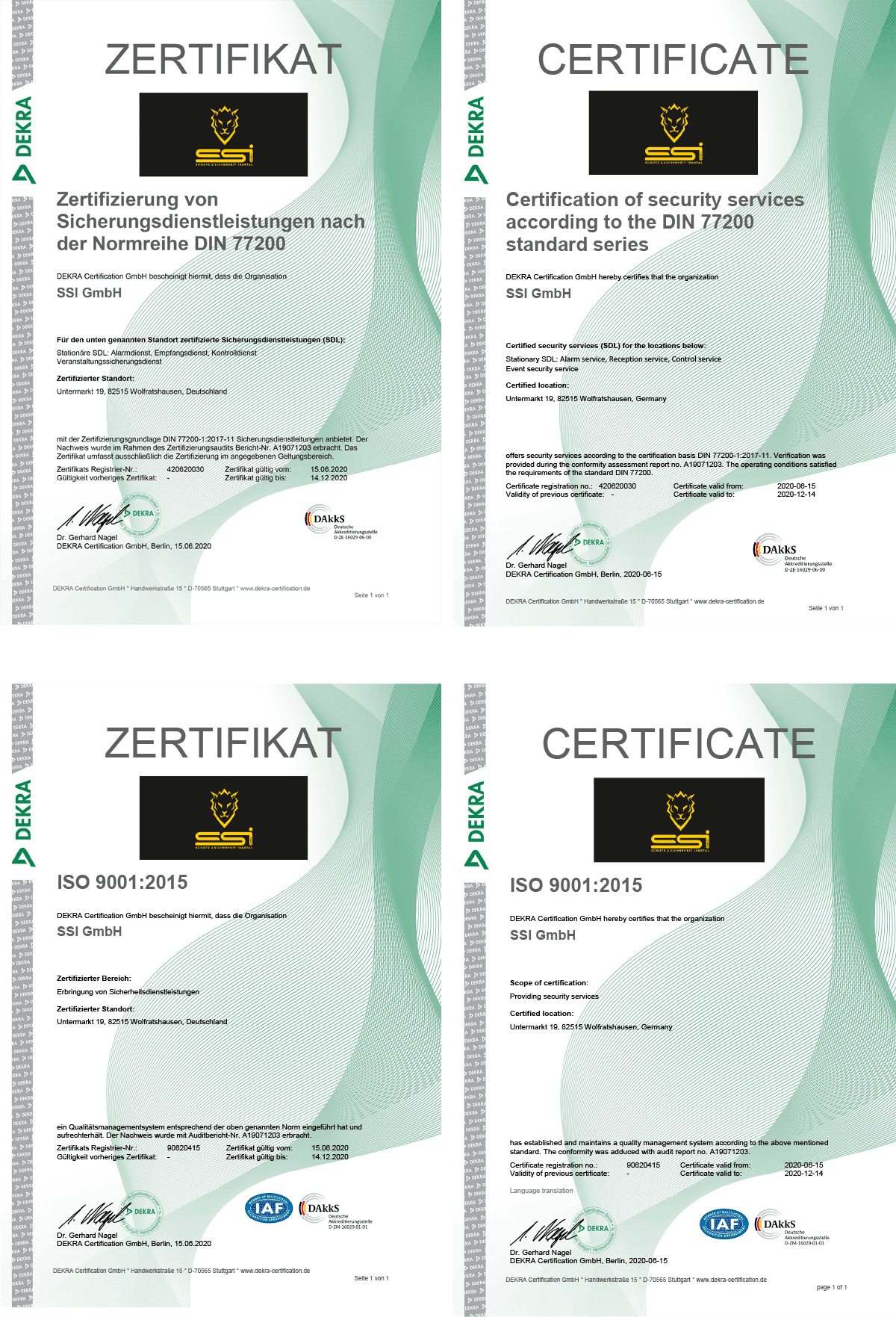 SSI GmbH Dekra Urkunden